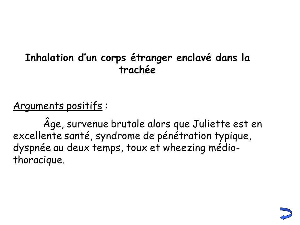 Inhalation dun corps étranger enclavé dans la trachée Arguments positifs : Âge, survenue brutale alors que Juliette est en excellente santé, syndrome