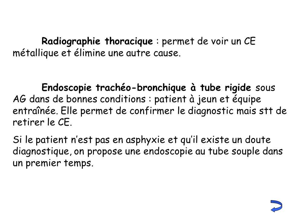 Radiographie thoracique : permet de voir un CE métallique et élimine une autre cause. Endoscopie trachéo-bronchique à tube rigide sous AG dans de bonn