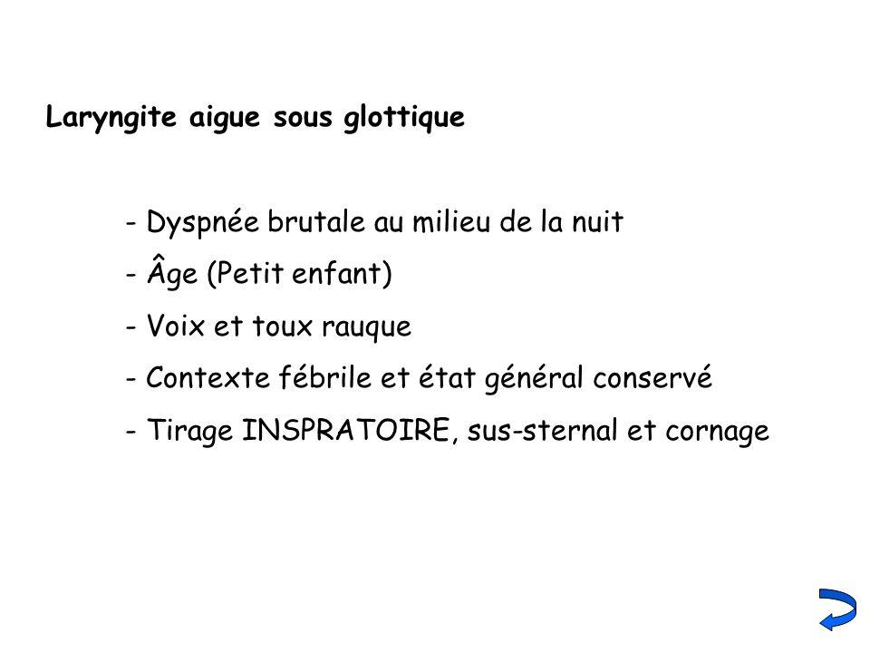 Laryngite aigue sous glottique - Dyspnée brutale au milieu de la nuit - Âge (Petit enfant) - Voix et toux rauque - Contexte fébrile et état général co
