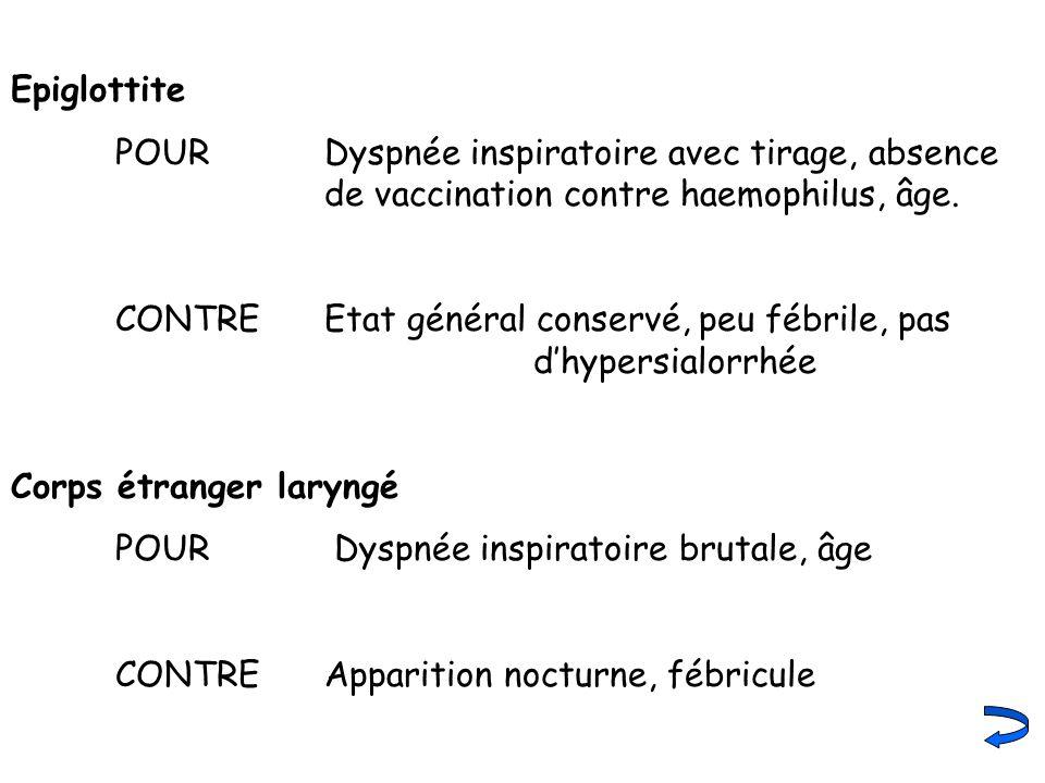 Epiglottite POUR Dyspnée inspiratoire avec tirage, absence de vaccination contre haemophilus, âge. CONTRE Etat général conservé, peu fébrile, pas dhyp