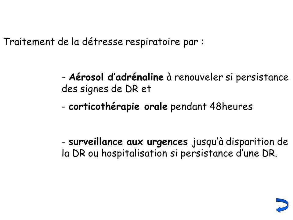 Traitement de la détresse respiratoire par : - Aérosol dadrénaline à renouveler si persistance des signes de DR et - corticothérapie orale pendant 48h