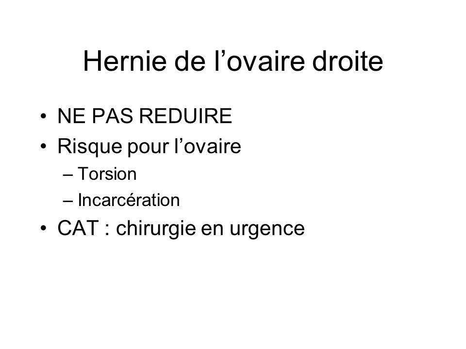 Hernie de lovaire droite NE PAS REDUIRE Risque pour lovaire –Torsion –Incarcération CAT : chirurgie en urgence