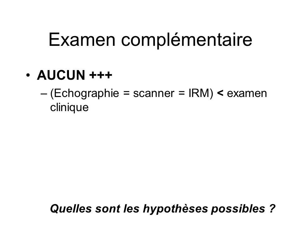 Examen complémentaire AUCUN +++ –(Echographie = scanner = IRM) < examen clinique Quelles sont les hypothèses possibles ?