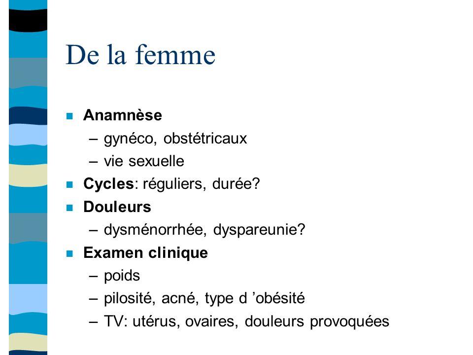 De la femme Anamnèse –gynéco, obstétricaux –vie sexuelle Cycles: réguliers, durée.