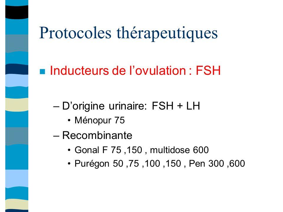 Protocoles thérapeutiques Inducteurs de lovulation : FSH –Dorigine urinaire: FSH + LH Ménopur 75 –Recombinante Gonal F 75,150, multidose 600 Purégon 50,75,100,150, Pen 300,600