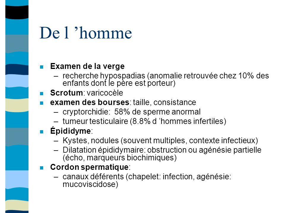 De l homme Examen de la verge –recherche hypospadias (anomalie retrouvée chez 10% des enfants dont le père est porteur) Scrotum: varicocèle examen des bourses: taille, consistance –cryptorchidie: 58% de sperme anormal –tumeur testiculaire (8.8% d hommes infertiles) Épididyme: –Kystes, nodules (souvent multiples, contexte infectieux) –Dilatation épididymaire: obstruction ou agénésie partielle (écho, marqueurs biochimiques) Cordon spermatique: –canaux déférents (chapelet: infection, agénésie: mucoviscidose)