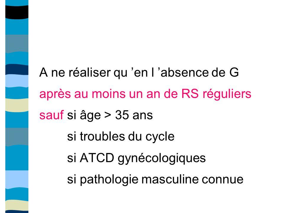 A ne réaliser qu en l absence de G après au moins un an de RS réguliers sauf si âge > 35 ans si troubles du cycle si ATCD gynécologiques si pathologie masculine connue