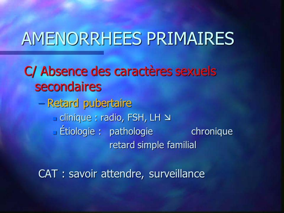 AMENORRHEES PRIMAIRES C/ Absence des caractères sexuels secondaires –Retard pubertaire n clinique : radio, FSH, LH n clinique : radio, FSH, LH n Étiol