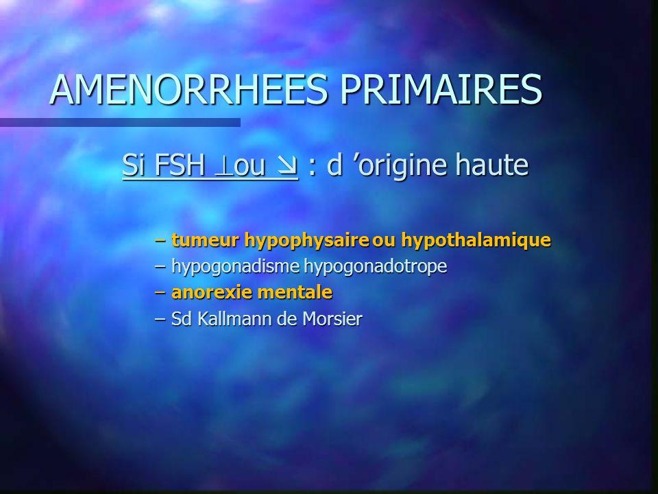 AMENORRHEES PRIMAIRES Si FSH ou : d origine haute –tumeur hypophysaire ou hypothalamique –hypogonadisme hypogonadotrope –anorexie mentale –Sd Kallmann