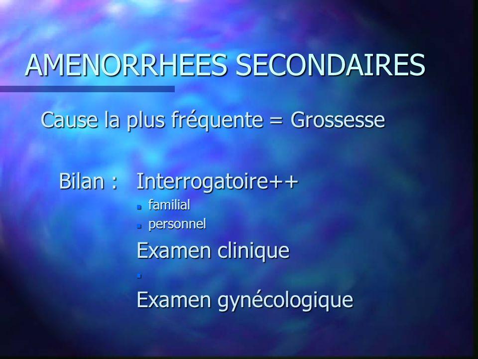 AMENORRHEES SECONDAIRES Cause la plus fréquente = Grossesse Bilan : Interrogatoire++ n familial n personnel Examen clinique n Examen gynécologique