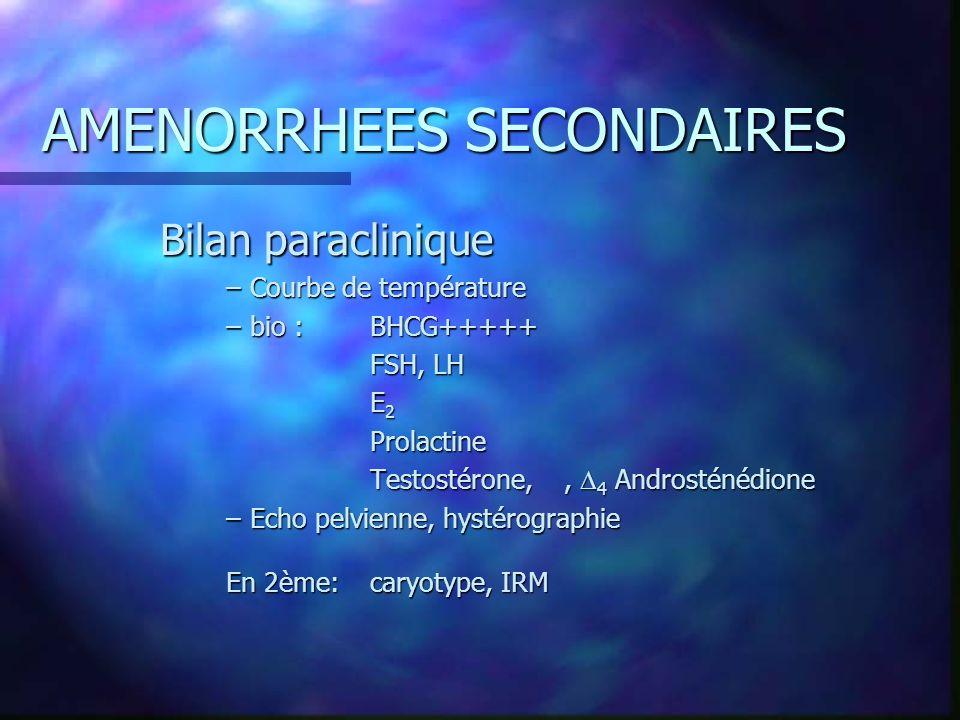 AMENORRHEES SECONDAIRES Bilan paraclinique –Courbe de température –bio : BHCG+++++ FSH, LH E 2 Prolactine Testostérone,, 4 Androsténédione –Echo pelvi