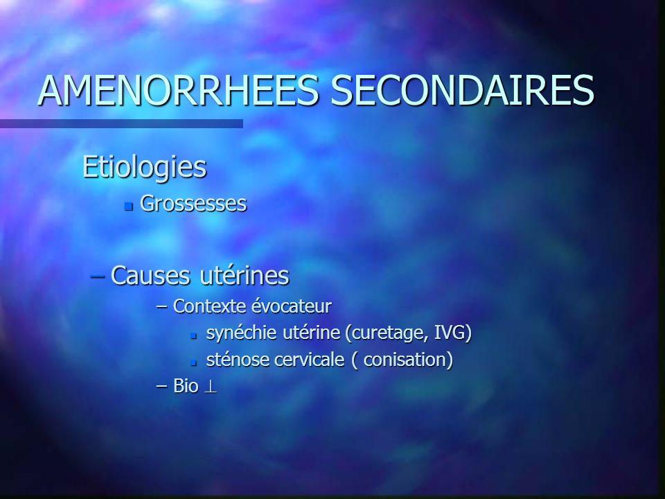 AMENORRHEES SECONDAIRES Etiologies n Grossesses –Causes utérines –Contexte évocateur n synéchie utérine (curetage, IVG) n sténose cervicale ( conisati