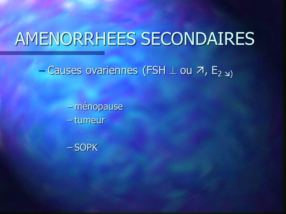 AMENORRHEES SECONDAIRES –Causes ovariennes (FSH ou, E 2 ) –ménopause –tumeur –SOPK