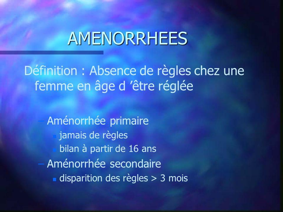 AMENORRHEES Définition : Absence de règles chez une femme en âge d être réglée – –Aménorrhée primaire n n jamais de règles n n bilan à partir de 16 an