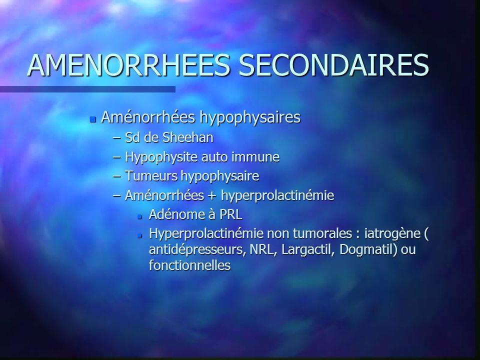 AMENORRHEES SECONDAIRES n Aménorrhées hypophysaires –Sd de Sheehan –Hypophysite auto immune –Tumeurs hypophysaire –Aménorrhées + hyperprolactinémie n
