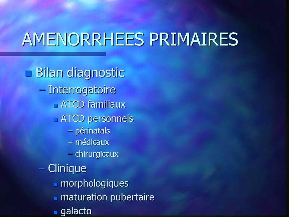 AMENORRHEES PRIMAIRES n Bilan diagnostic –Ex gynécologique n petites lèvres = œstrogène n grandes lèvres, clitoris = androgène n hymen, vagin, TR
