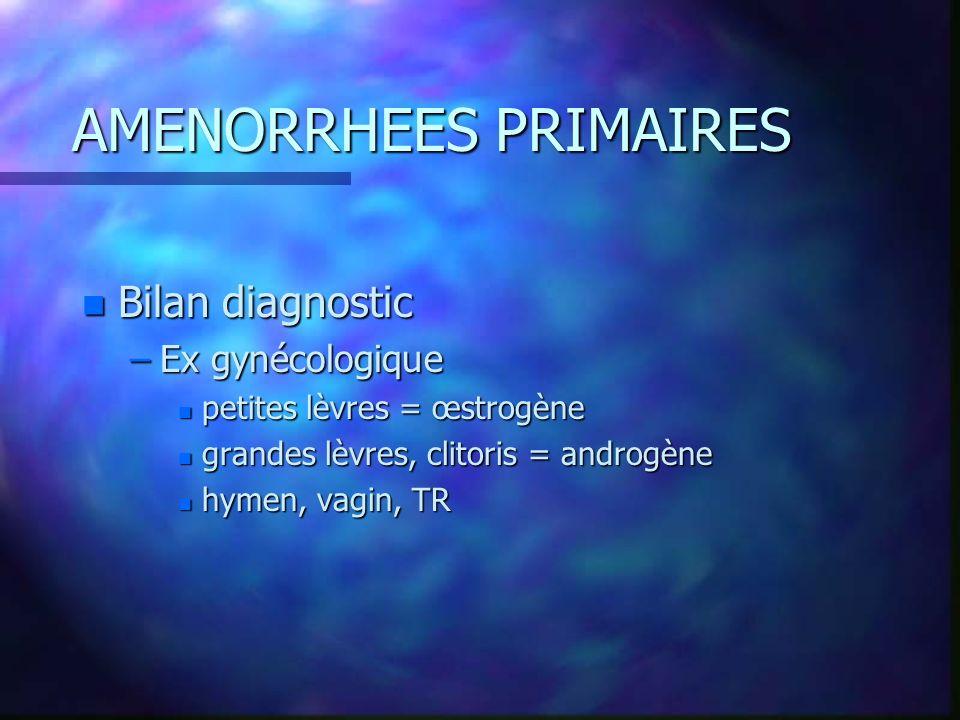 AMENORRHEES SECONDAIRES Bilan paraclinique –Courbe de température –bio : BHCG+++++ FSH, LH E 2 Prolactine Testostérone,, 4 Androsténédione –Echo pelvienne, hystérographie En 2ème: caryotype, IRM