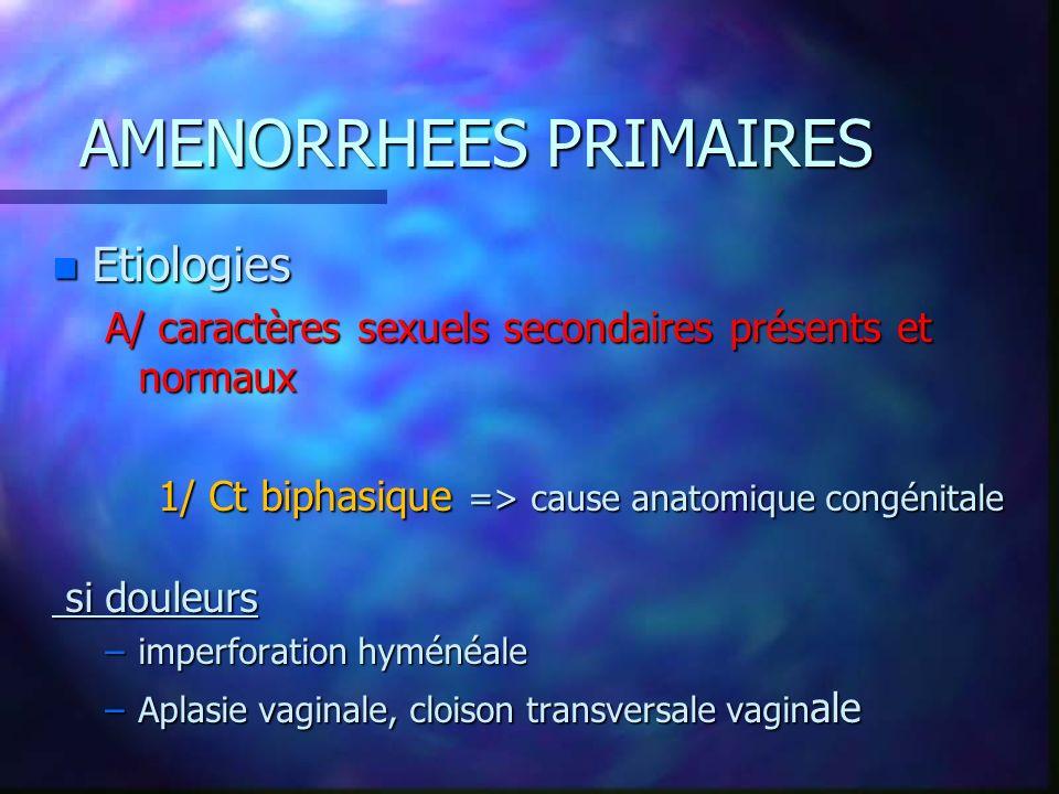 AMENORRHEES PRIMAIRES n Etiologies A/ caractères sexuels secondaires présents et normaux 1/ Ct biphasique => cause anatomique congénitale si douleurs