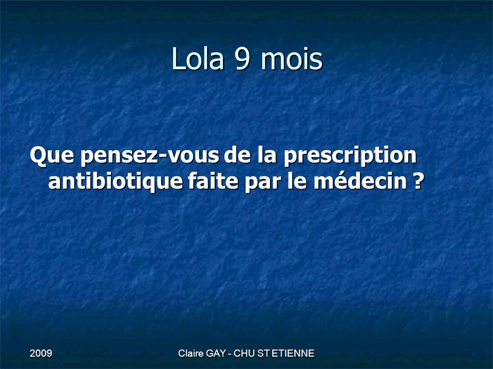2009Claire GAY - CHU ST ETIENNE Lola 9 mois rhino + otite congestive = virose pas dantibiotique pas dantibiotique otite bactérienne avant 2 ans : - 40% Hémophilus (bétalactamase 30%) - 30% pneumocoque ( sens.dim.à Péni 50%) - 10% moraxella (bétalactamase 95%) crèche augm risque de pneumo de SDP ATB : amoxicilline + acide clavulanique (dosePx3/j = 80mg/kg/j amox) ou céphalosporine de 2ème (céfuroxime Zinnat) ou 3ème génération (céfixime Oroken, cefpodoxime Orélox) ATB : amoxicilline + acide clavulanique (dosePx3/j = 80mg/kg/j amox) ou céphalosporine de 2ème (céfuroxime Zinnat) ou 3ème génération (céfixime Oroken, cefpodoxime Orélox)