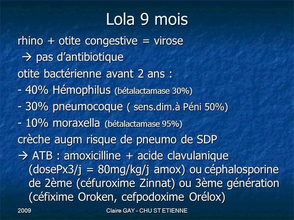 2009Claire GAY - CHU ST ETIENNE Lola 9 mois Vaccin polysaccharidique conjugué antipneumocoque heptavalent = Prévenar 2 injections à 2 et 4 mois Rappel à 12 mois (futur : 13 valences)