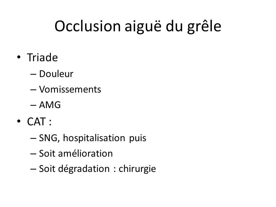Occlusion aiguë du grêle Triade – Douleur – Vomissements – AMG CAT : – SNG, hospitalisation puis – Soit amélioration – Soit dégradation : chirurgie