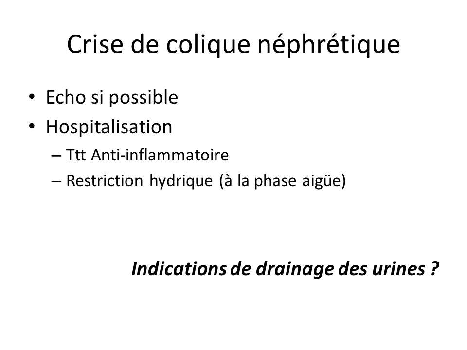 Crise de colique néphrétique Echo si possible Hospitalisation – Ttt Anti-inflammatoire – Restriction hydrique (à la phase aigüe) Indications de draina