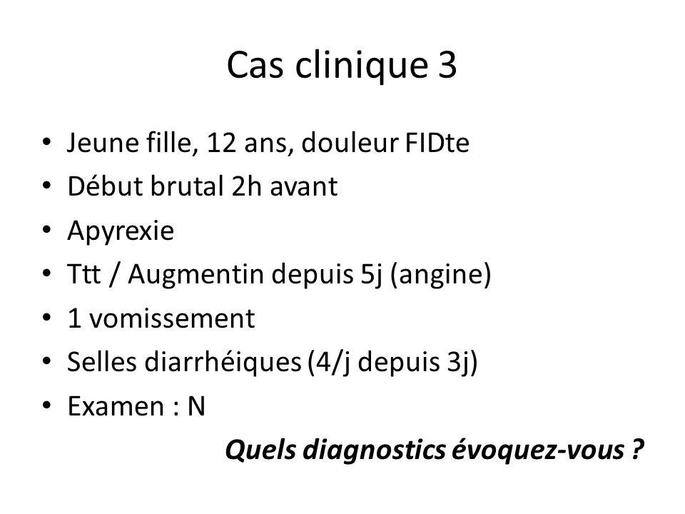 Cas clinique 3 Jeune fille, 12 ans, douleur FIDte Début brutal 2h avant Apyrexie Ttt / Augmentin depuis 5j (angine) 1 vomissement Selles diarrhéiques