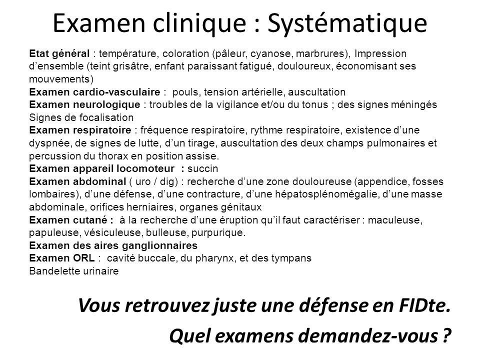 Examen clinique : Systématique Vous retrouvez juste une défense en FIDte. Quel examens demandez-vous ? Etat général : température, coloration (pâleur,