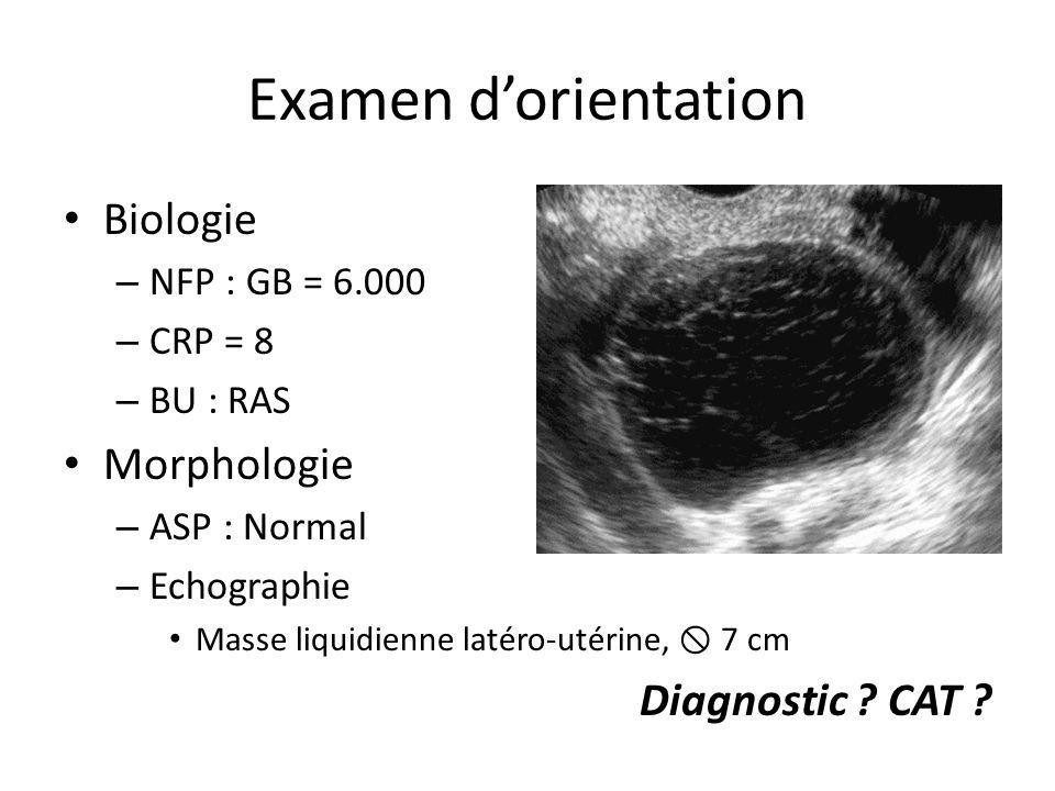 Examen dorientation Biologie – NFP : GB = 6.000 – CRP = 8 – BU : RAS Morphologie – ASP : Normal – Echographie Masse liquidienne latéro-utérine, 7 cm D