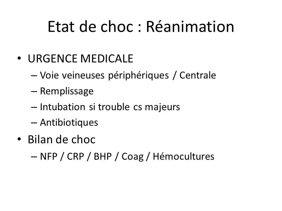 Etat de choc : Réanimation URGENCE MEDICALE – Voie veineuses périphériques / Centrale – Remplissage – Intubation si trouble cs majeurs – Antibiotiques