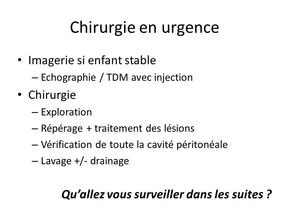 Chirurgie en urgence Imagerie si enfant stable – Echographie / TDM avec injection Chirurgie – Exploration – Répérage + traitement des lésions – Vérifi