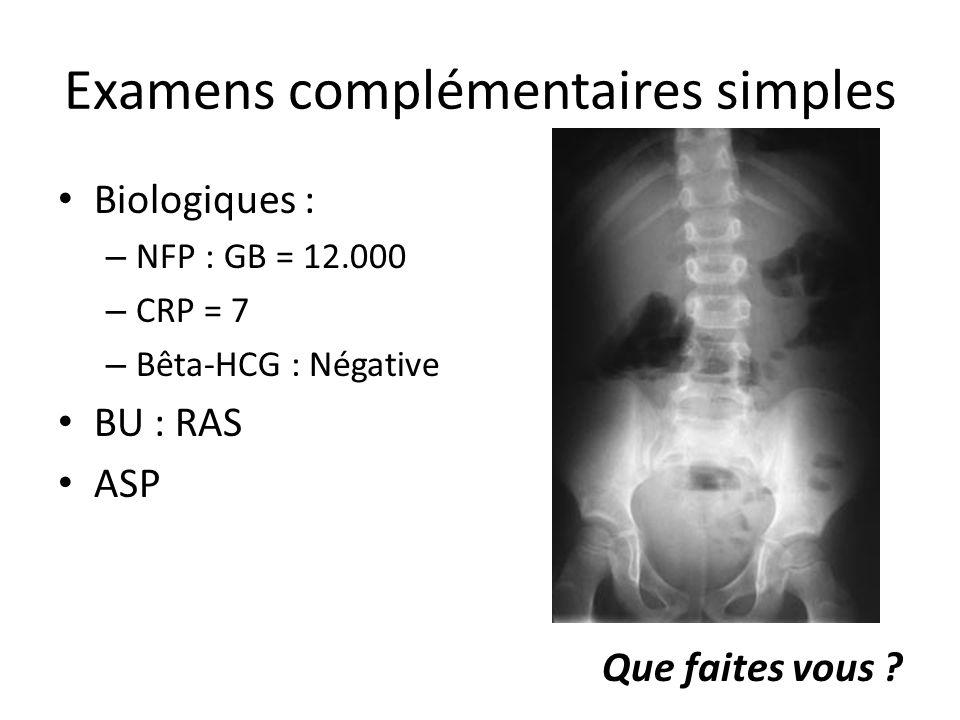 Examens complémentaires simples Biologiques : – NFP : GB = 12.000 – CRP = 7 – Bêta-HCG : Négative BU : RAS ASP Que faites vous ?