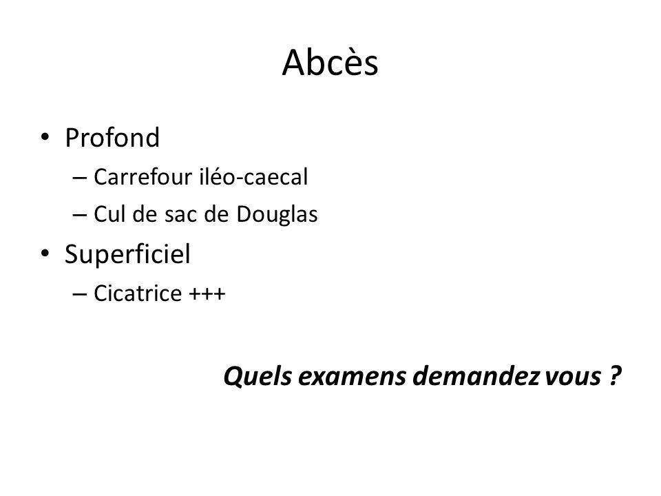 Abcès Profond – Carrefour iléo-caecal – Cul de sac de Douglas Superficiel – Cicatrice +++ Quels examens demandez vous ?
