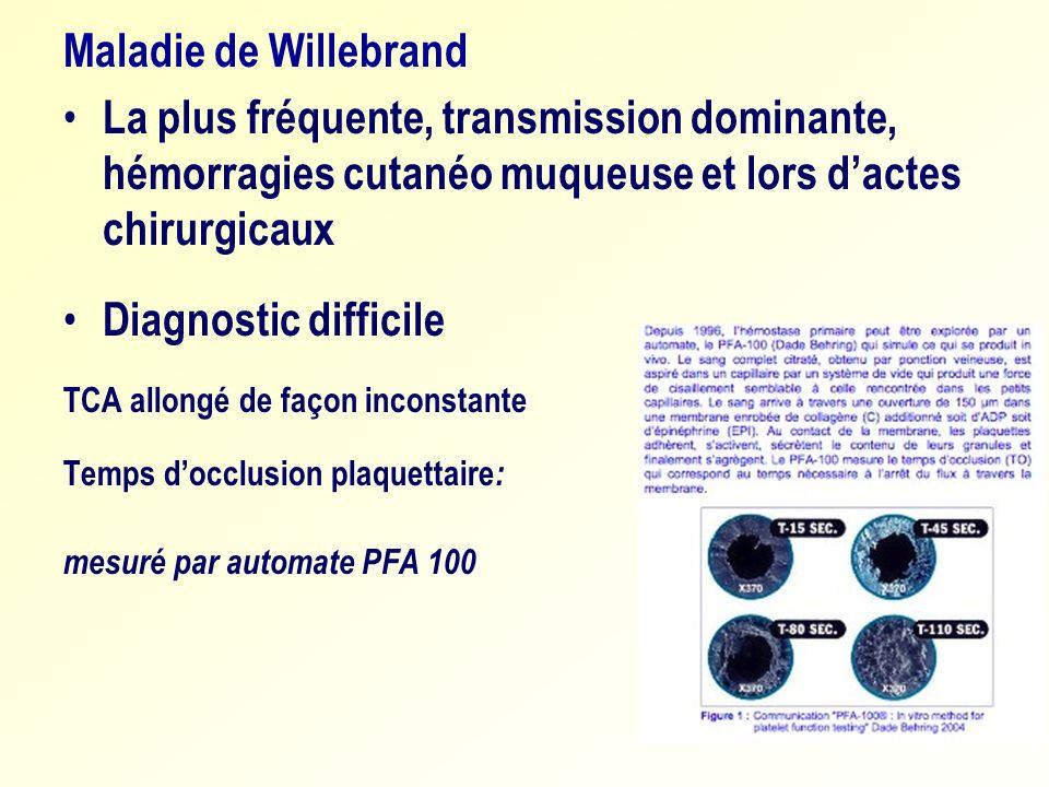 Maladie de Willebrand La plus fréquente, transmission dominante, hémorragies cutanéo muqueuse et lors dactes chirurgicaux Diagnostic difficile TCA all