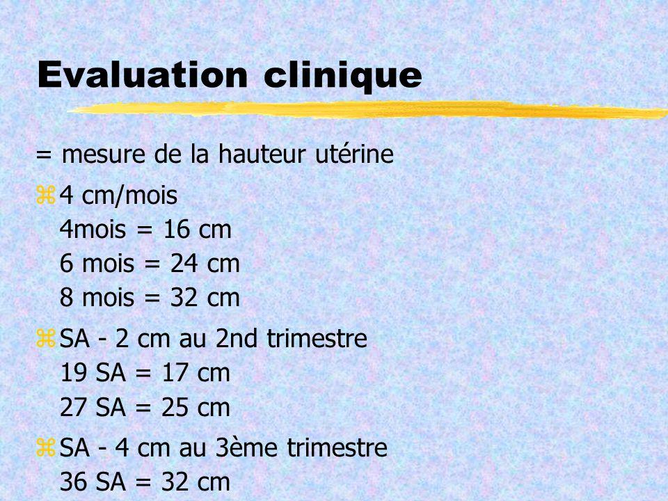 Evaluation clinique = mesure de la hauteur utérine 4 cm/mois 4mois = 16 cm 6 mois = 24 cm 8 mois = 32 cm SA - 2 cm au 2nd trimestre 19 SA = 17 cm 27 S