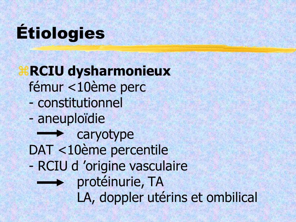 Étiologies RCIU dysharmonieux fémur <10ème perc - constitutionnel - aneuploïdie caryotype DAT <10ème percentile - RCIU d origine vasculaire protéinuri