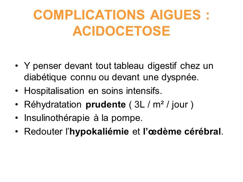 COMPLICATIONS AIGUES : ACIDOCETOSE Y penser devant tout tableau digestif chez un diabétique connu ou devant une dyspnée. Hospitalisation en soins inte