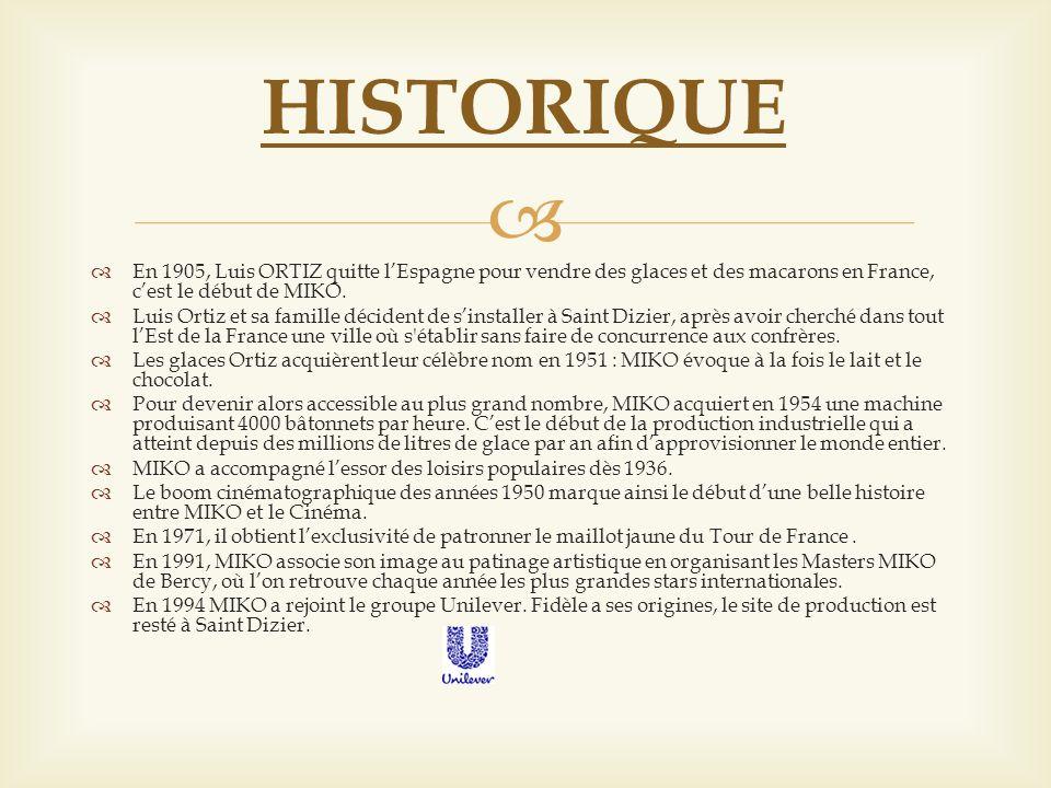 En 1905, Luis ORTIZ quitte lEspagne pour vendre des glaces et des macarons en France, cest le début de MIKO. Luis Ortiz et sa famille décident de sins