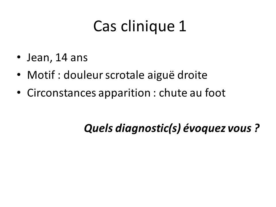 Cas clinique 1 Jean, 14 ans Motif : douleur scrotale aiguë droite Circonstances apparition : chute au foot Quels diagnostic(s) évoquez vous ?