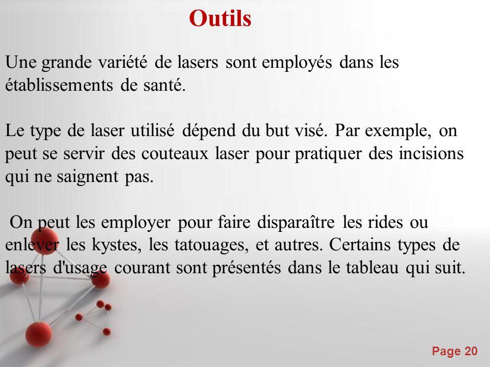 Powerpoint Templates Page 20 Outils Une grande variété de lasers sont employés dans les établissements de santé.