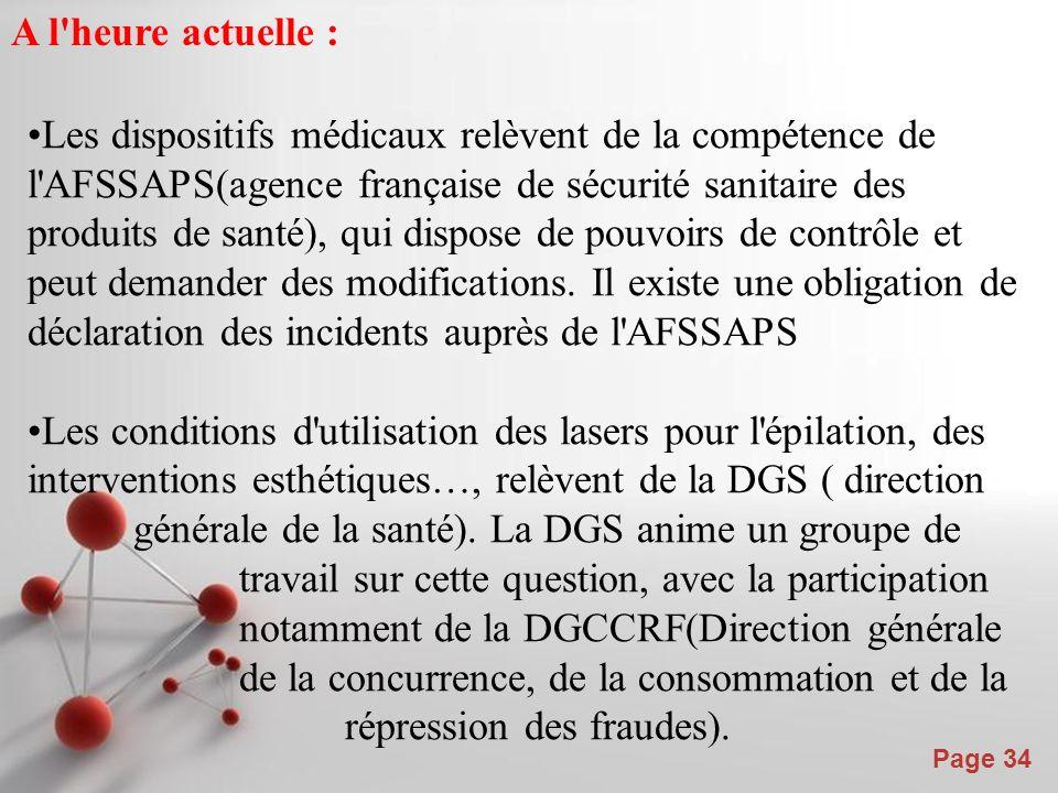 Powerpoint Templates Page 34 A l heure actuelle : Les dispositifs médicaux relèvent de la compétence de l AFSSAPS(agence française de sécurité sanitaire des produits de santé), qui dispose de pouvoirs de contrôle et peut demander des modifications.