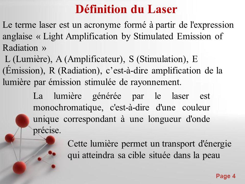 Powerpoint Templates Page 4 Définition du Laser Le terme laser est un acronyme formé à partir de l expression anglaise « Light Amplification by Stimulated Emission of Radiation » L (Lumière), A (Amplificateur), S (Stimulation), E (Émission), R (Radiation), cest-à-dire amplification de la lumière par émission stimulée de rayonnement.