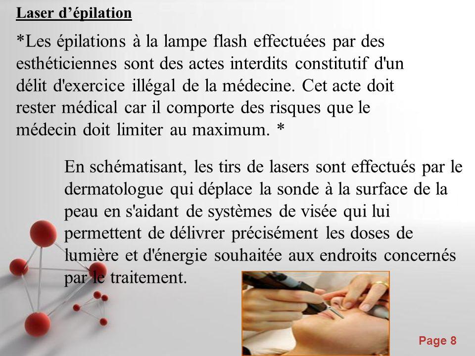 Powerpoint Templates Page 8 Laser dépilation *Les épilations à la lampe flash effectuées par des esthéticiennes sont des actes interdits constitutif d un délit d exercice illégal de la médecine.