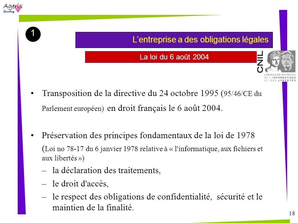 18 La loi du 6 août 2004 Transposition de la directive du 24 octobre 1995 ( 95/46/CE du Parlement européen) en droit français le 6 août 2004. Préserva