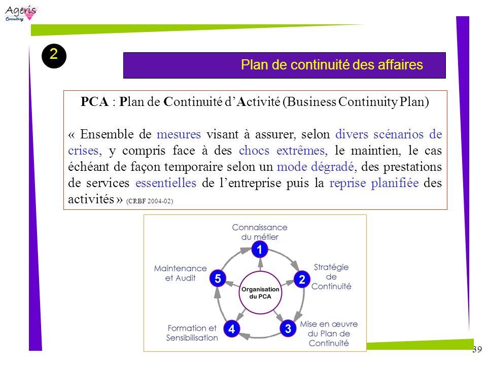 39 Plan de continuité des affaires 2 PCA : Plan de Continuité dActivité (Business Continuity Plan) « Ensemble de mesures visant à assurer, selon diver