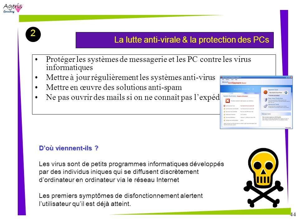 44 La lutte anti-virale & la protection des PCs 2 Protéger les systèmes de messagerie et les PC contre les virus informatiques Mettre à jour régulière
