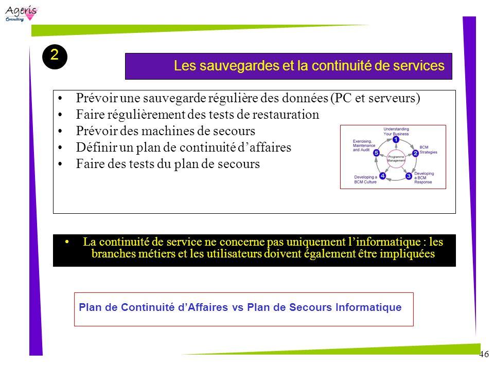46 Démonstration du logiciel Les sauvegardes et la continuité de services 2 Prévoir une sauvegarde régulière des données (PC et serveurs) Faire réguli