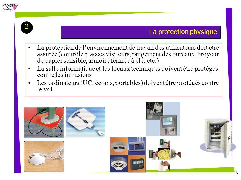 48 La protection physique 2 La protection de lenvironnement de travail des utilisateurs doit être assurée (contrôle daccès visiteurs, rangement des bu