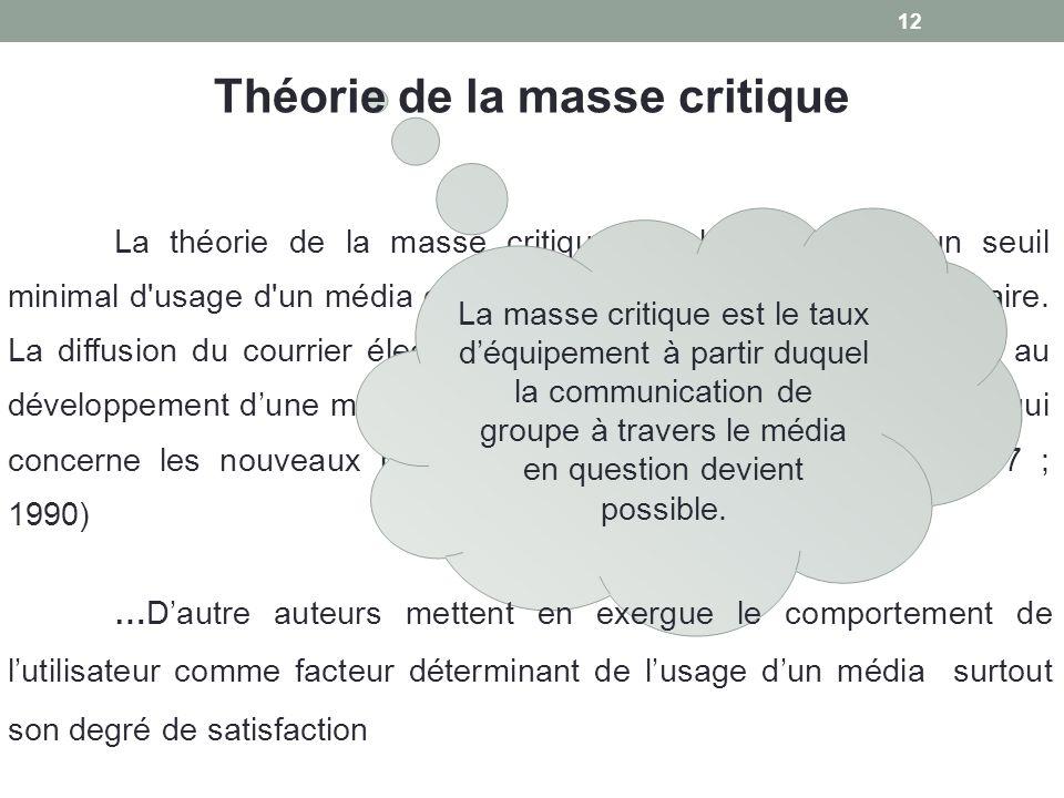 12 La théorie de la masse critique stipule qu'il existe un seuil minimal d'usage d'un média défini par le taux d'équipement nécessaire. La diffusion d
