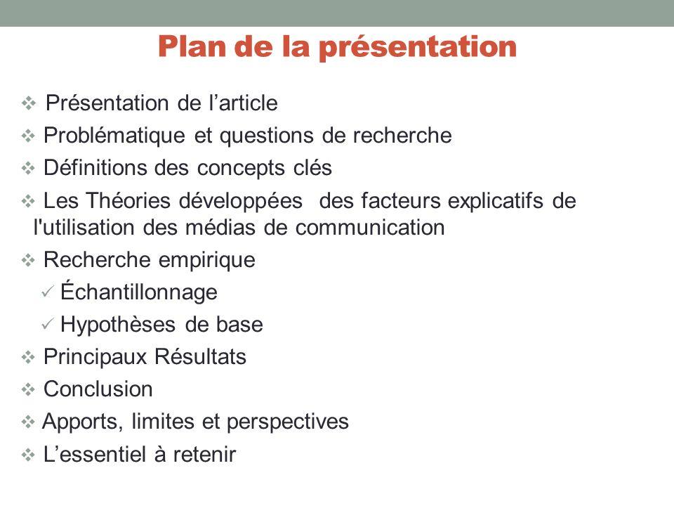 Plan de la présentation Présentation de larticle Problématique et questions de recherche Définitions des concepts clés Les Théories développées des fa